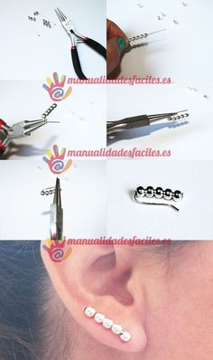 Los pendientes mas fáciles Materials: silver pins of 4 cms approximately silver 4 mm space balls Sales materials in our online store Insert 5 balls in each pin, fold the wire over the last ball and make a fold … Wire Wrapped Jewelry, Wire Jewelry, Beaded Jewelry, Jewellery, Diy Earrings, Diy Necklace, Wire Crafts, Jewelry Crafts, Ear Cuff Tutorial