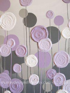 Grey and Purple Modern Nursery Art, Impasto 16x20 Acrylic on Canvas, Made to Order. $95.00, via Etsy.