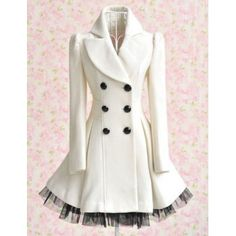 Women's Worsted Color Matching Double-breasted Beam Waist Voile Stitching Plicated Ruffles Long Edition Stylish Coat, WHITE, M in Jackets & Coats | DressLily.com