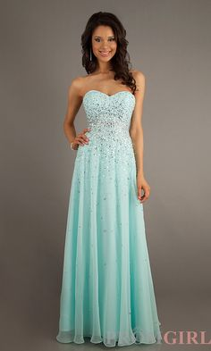 Long aqua green prom dress. Love the sparkles coming down from the top!