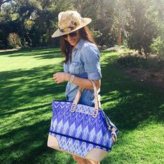 Summer is Coming - Stella & Dot - Our best selling Getaway in a NEW Indigo Ikat print! Have style, will travel. This weekender makes packing a cinch. Available April 10th! #stelladot #stelladotstyle #travel #weekender #handbag