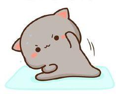 Cute Anime Cat, Cute Cat Gif, Cute Cats, Chibi Cat, Cute Chibi, Cute Bear Drawings, Kawaii Drawings, Cute Cartoon Images, Cute Cartoon Wallpapers