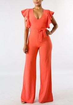 0f91836c216e DaysCloth Orange Sashes Ruffle V-neck High Waisted Elegant Party Wide Leg  Long Jumpsuit Monos