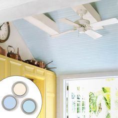 Colorful ceilings tip: If the ceiling is darker than the walls, it will look lower; if it's lighter, it will appear higher. A safe choice is a warm white or even a very pale blue.