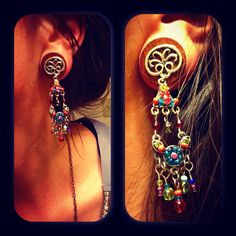 Simply Psychedelic Dangle Plugs- Organic/ Handcrafted/ Lovely/ Earthy/ Elegance/ Great Gift /Dangle/ Pretty/2g, 0g, 00g, 7/16, 1/2, and more
