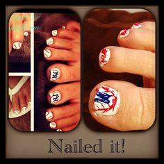 Yankees Nail art Nailed it!