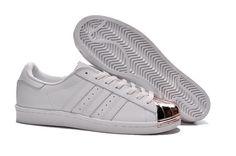 Men/Women Adidas Superstar 80s With Metal Toe White Metallic Rose Gold