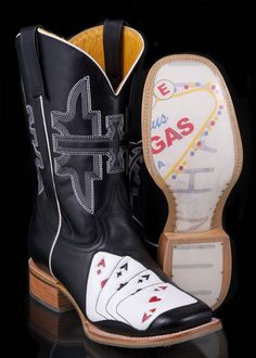 Men's Las Vegas Four Aces Boot by Tin Haul Boots: Over sq. of Western Boots, Jeans, Clothes, Tack & More - Horsetown Western Stores Cowboy Boots Women, Cowgirl Boots, Western Boots, Cowboy Hats, Western Wear, Tin Haul Boots, Next Boots, Boot Bling, Square Toe Boots
