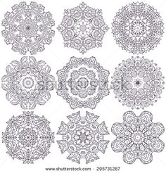 Set of ethnic ornamental floral pattern. Hand drawn mandalas. Orient traditional background. Lace circular ornaments.  Ethnic, Indian, Islamic, Asian, ottoman, Arabic  motifs. Vector illustration.
