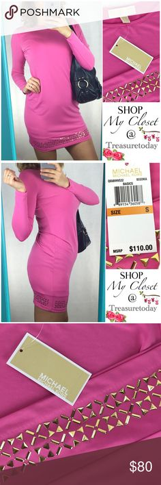 NWT Michael Kors Begonia Pink Long Sleeve Dress Beautiful dress! Brand new with tags! Size small , fits medium too. Lightweight material, but not see through. Long sleeves, scoop neck and beautiful gold tone embellishment on the bottom. Bundle 2 or more items to get %10 off 💖 MICHAEL Michael Kors Dresses Long Sleeve