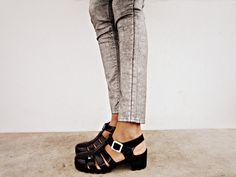 black heeled jelly shoes.