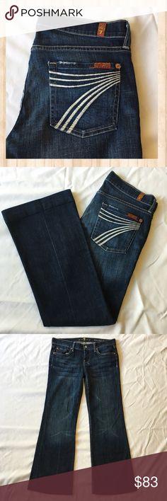 "7 FAM Dojo Flip Flop dark wash wide leg jeans. 7 FAM Dojo Flip Flop dark wash wide leg jeans. Great condition!  Vibrant iconic ""7"" on back pocket. Bottom seems are flawless. Inseam: 29"" Leg opening: 10.5"" Waist: 16"" 7 For All Mankind Jeans Flare & Wide Leg"