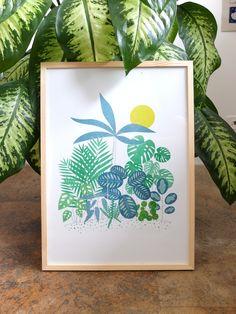Nadia de Donno / Risography A3: 30 CHF jungle - illustration - teal - yellow - green Jungle Illustration, Teal Yellow, Chf, Graphic Design, Green, Handmade