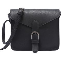 Faux Leather Buckle Strap Flap Bag - Black (€14) ❤ liked on Polyvore featuring bags, handbags, shoulder bags, accessories, black, satchel purses, shoulder bag purse, satchel bag, satchel shoulder bag and handbag satchel