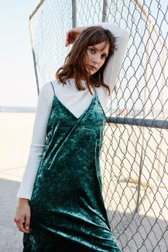 Green Velvet Slip Midi Dress