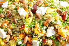 Bulgursalat med honningbagte gulerødder, nektariner og feta - Julie Karla, Sunde Opskrifter, Low Carb Opskrifter