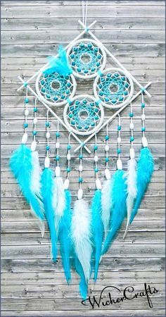dreamcatcher/ dream catcher/ white blue dream by WickerCrafts drea. - dreamcatcher/ dream catcher/ white blue dream by WickerCrafts dreamcatcher/ dream cat - Dreams Catcher, Blue Dream Catcher, Beautiful Dream Catchers, Dream Catcher Mobile, Diy Tumblr, Los Dreamcatchers, Diy And Crafts, Arts And Crafts, Diy Holz