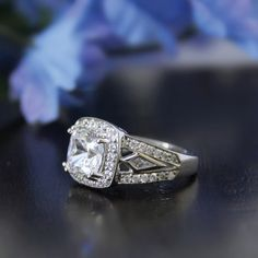 2.4CTW Cushion Cut Simulated Diamond 925 Sterling Silver with Gold Wedding Engagement Ring     FREE Shipping Worldwide     http://fashjewels.de/ring-for-women-2-4ctw-cushion-cut-lsimulated-diamond-s925-sterling-silver-with-gold-engagement-wedding-rings-art-dec-bague/