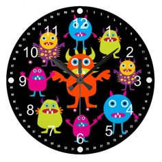 Cute Funny Monster Party Creatures in Circle Wallclocks