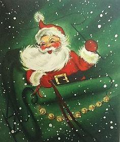 Vintage Unused Hallmark Xmas Greeting Card Santa In Snow Riding In His Sleigh