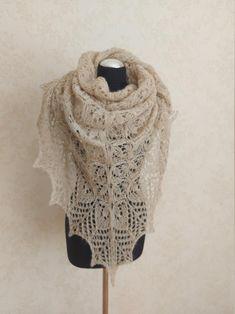 Beige hand knitted alpaca and silk shawl Cream white lace | Etsy White Beige, Cream White, White Lace, Wedding Shawls, Triangle Scarf, Silk Shawl, Oversized Scarf, Bridal Outfits, Knitted Shawls
