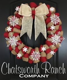 Elegant Snowflake Holiday Burlap Christmas Wreath – Merry Christmas Natural Wreath Holiday Rustic Wreath Red and Natural Winter Wreath - Burlap Holiday Burlap Wreath, Christmas Door Wreaths, Burlap Christmas, Christmas Balls, Diy Wreath, Holiday Wreaths, Christmas Crafts, Christmas Decorations, Christmas Ornaments