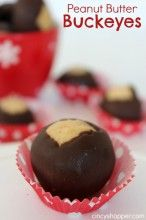 Peanut Butter Buckeyes Recipe. Super Easy! The perfect combination of peanut butter dipped in chocolate. Toss them in an inexpensive tin or box for a great gift for the holidays.
