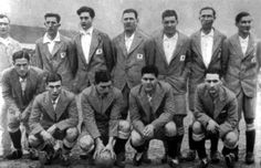 The Argentinian national soccer team during the very first world cup, 1930