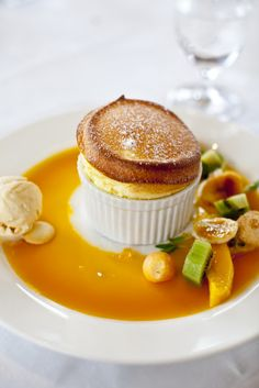 Mango souffle at Eleonore's at Chateau Yering. Eleonore's was again awarded a Chefs Hat in The Age Good Food Guide 2013.