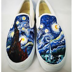 Van Gogh Starry Night Nthe Starry Night Shoes Painted Canvas Shoes, Hand Painted Shoes, Painting Shoes, Unique Christmas Gifts, Van Gogh, On Shoes, Vans, Slip On, Night