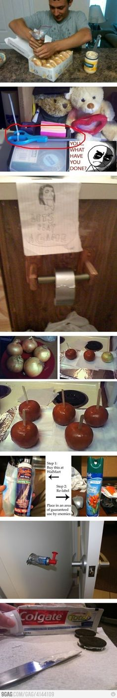 Mayo filled donuts!! Candied onions!!! Toothpaste filled oreos!!! Great and harmless prank ideas.