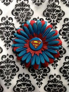 Red and Blue Superman Flower by SilviasTreasures on Etsy, $6.00