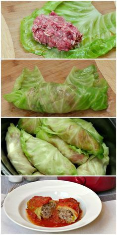 Slow cooker stuffed cabbage rolls are a low carb, gluten free dinner. Use ground turkey or ground beef in the meat mixture and simmer all day in tomato sauce in the Crock Pot for a delicious dinner.