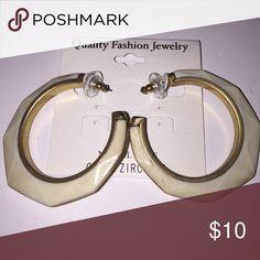Fashion Earrings Ivory & Gold Fashion Hoop Earrings Jewelry Earrings
