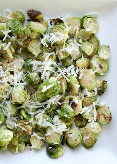 Crispy {oven roasted} Brussels Sprouts with Asiago Cheese recipe by Barefeet In The Kitchen