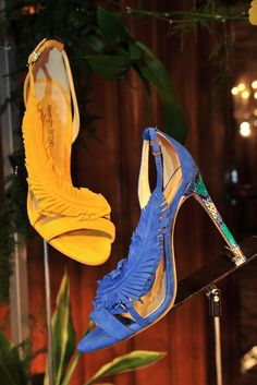 Alexandre Birman: Brazilian cobbler Alexandre Birman adorned these sexy luxe sandals with suede feathers. [Photo by Xavier Granet]