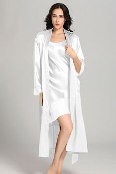 22 Momme Flowing Lace Silk  Nightgown  amp   Robe Set Indian Fashion Trends 743a8c031