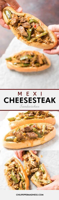 Mexi Cheesesteak Sandwiches - A cheesesteak recipe mashup! Here is our Mexican-style riff off of the classic Philly cheesesteak, made with spicy jalapeno peppers and salsa con queso. Absolutely delicious!