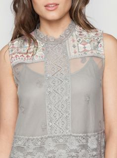 Shoulder Detail: Johnny Was 4 Love & Liberty Embroidered Silk Brooklyn Dress #geometric #decorative #embroidery #bohochic