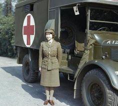 Princess Elizabeth of York (now Queen Elizabeth II) reporting for work during WWII
