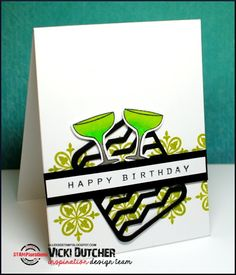Vicki Dutcher: All I Do Is Stamp –  STAMPlorations Inspirations #27 - 7/13/15.  (STAMPlorations: Art Deco Border Builders; Chevron & Arrows; Party Mates).  (Pin#1: Beverages... Pin+: Tags...).