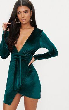 a6ded930f9af Emerald Green Plunge Wrap Detail Long Sleeve Mini Dress. Smaragdově Zelená MinišatyKrátké ŠatyOblečeníZelená
