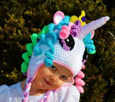 Princess Celestial Hat, Princess Celestia Hat, My Little Pony hat, Pony Celestia… Crochet Kids Hats, Crochet Beanie Hat, Crochet Crafts, Crochet Baby, Crochet Projects, Knitted Hats, Knit Crochet, Crochet Unicorn Hat, Crochet Stitches