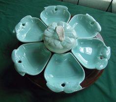 hoenig california pottery apple lazy susan blue aqua white wood base chip dip