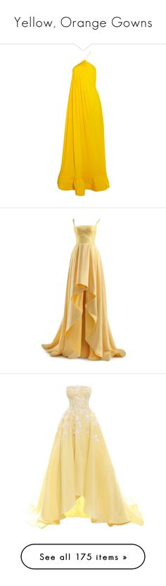 """""""Yellow, Orange Gowns"""" by srta-sr ❤ liked on Polyvore featuring smrgowns, dresses, gowns, long dresses, stella mccartney, open back gown, slit gown, yellow evening gown, pleated dress and long yellow dress"""