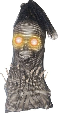 Bag of Bones With Light-Up Moaning Skull Animated Prop