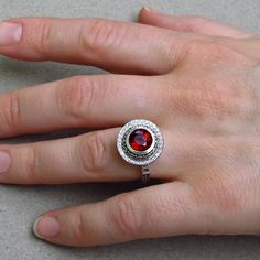 MARIA 14K gold Garnet ring with diamond halo by WingedLion on Etsy