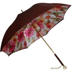 Pasotti Burgundy Double Canopy Floral Umbrella