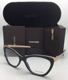 87a7450ba43 TOM FORD Eyeglasses TF-5374 001 Shiny Black  amp  Matte Gold Frame