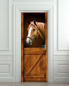 "Door STICKER Horse in Stall Stable Western mural decole film self-adhesive poster 30x79""(77x200 cm) Pulaton,http://www.amazon.com/dp/B00HS83F7C/ref=cm_sw_r_pi_dp_jL0Zsb0ZJRNHB3AA"